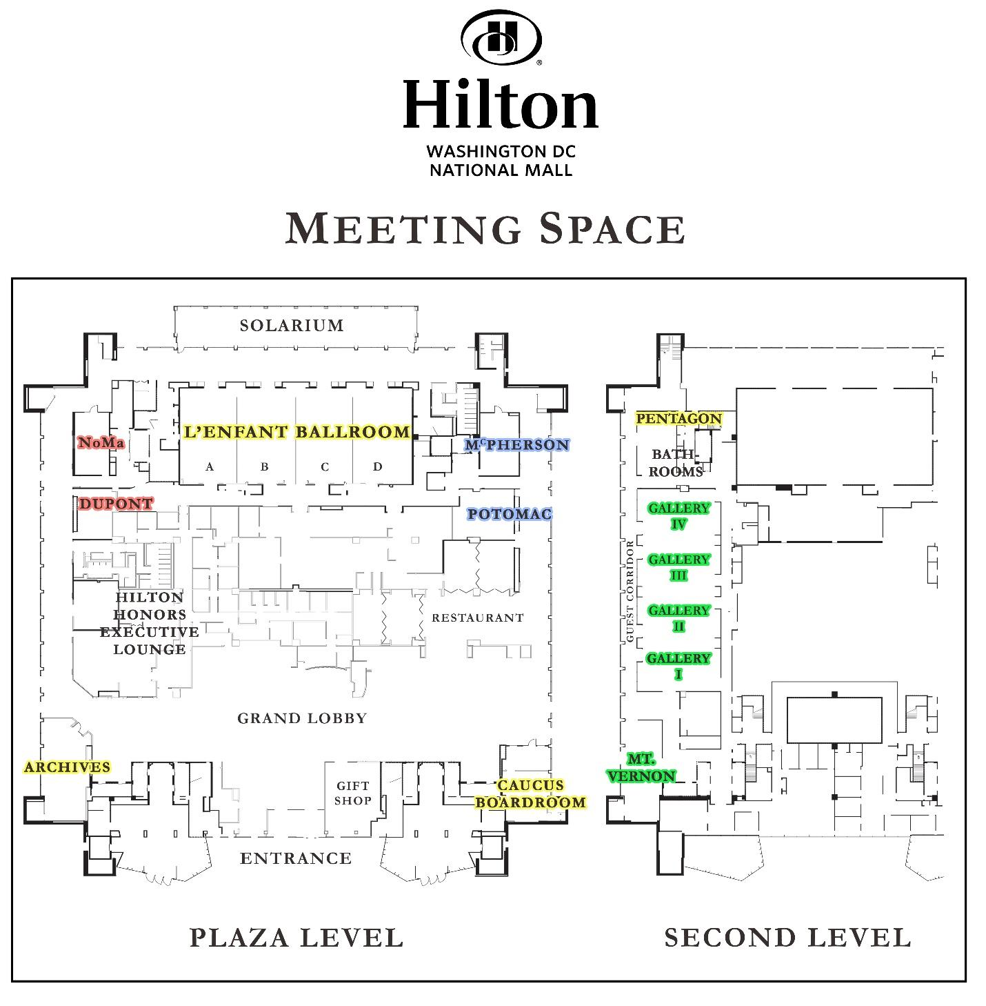 Hilton Hotel Meeting Space Map